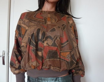 Vintage Leather Batwing Sleeved Top EFFETTE COUSTON Cuir 70s 80s Seventies Eighties Size Medium Graphic Print