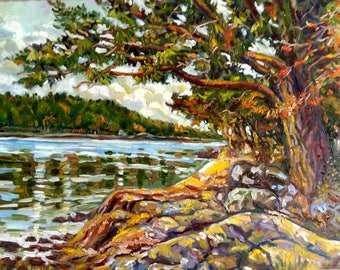 "Original Oil Painting, Landscape-Trees beside lake, 18x24"", 1705041"