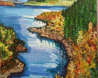 """Original Oil Painting, Landscape-Autumn Lake,48x24"""", 1705233"""