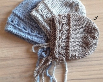 SPRING SALE! Knit Newbor hat, Newborn sizes, Baby boy, Bonnet, Photography prop, Blue, Grey, Light Brown