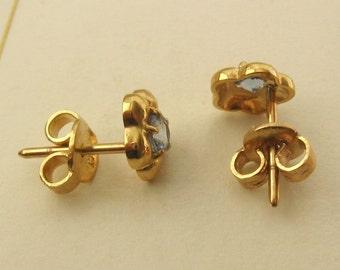 Genuine 9ct Solid Gold MARCH Birthstone AQUAMARINE Stud EARRINGS