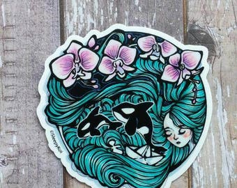 Sail Away 3 Inch Vinyl Sticker Inspired by the love of the sea, orca whales, and origami boats. Planner Accessories Back to School Laptop