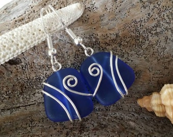 Made in Hawaii, Wire wrapped cobalt blue sea glass earrings, 925 sterling silver hook, gift box.beach jewelry