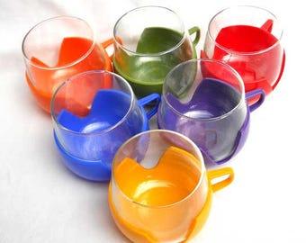 Drink Ups 1970s Harlequin Glass Set Vintage