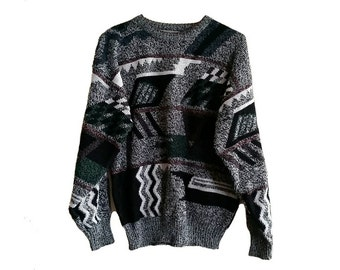 Colorful 90s Sweater • Size LARGE • Retro 90s Cosby Sweater • Vintage Acrylic Sweater • Multicolor Stripe Pattern • Boyfriend Sweater