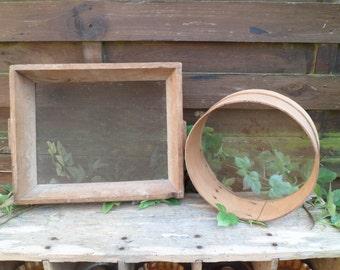 2 small sieve, sieve round, rectangular sieve, old tools, kitchen decorating, shelf