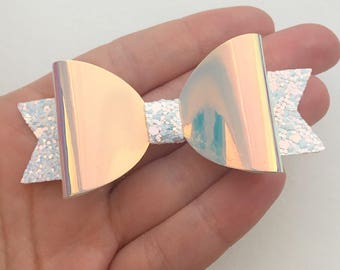 Girls Glitter Bow - White iridescent holographic rainbow hair bow, unique pinch clip, gifts for girls, Pearlised Bow