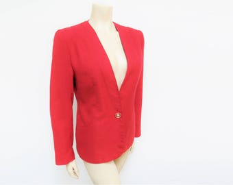 Red Blazer, UK10, US6, Blazer, Vintage Blazer, PinUp Girl, Vintage Clothing, Jacket, Red Jacket, Workwear, Clothing