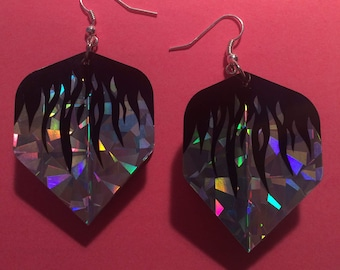 Silver flame dart flight earrings