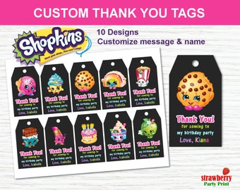 Shopkins Favor Tags, Shopkins Thank You Tags, Party Favors, Shopkins Printable, Shopkins Gift Tags, Shopkins Birthday Party Decoration