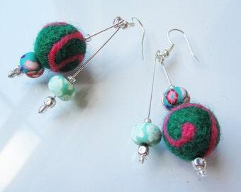 Green & Hot Pink Swirls Felted Earrings