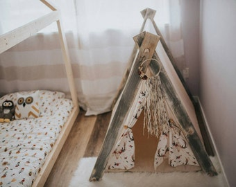 Play A-Frame Tent Teepee Multi-Coloured Boho Rustic Distressed Feathers Flowers Skulls