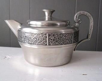 Vintage Norwegian ITB Pewter Teapot, Norwegian Metal Design, Scandinavian Style, Folk Homeware, Rustic Kitchen