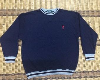 Vintage 90's US Polo Association Blue Classic Design Skate Sweat Shirt Sweater Varsity Jacket Size L #A564