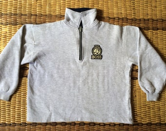 Vintage 90's Coffee Boss Sport Classic Design Skate Sweat Shirt Sweater Varsity Jacket Size L #A600