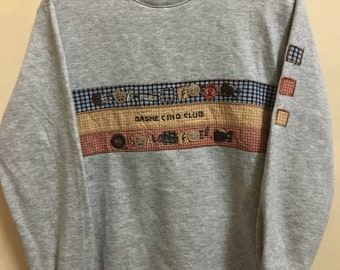 Vintage 90's Bashe Cinq Club Sport Classic Design Skate Sweat Shirt Sweater Varsity Jacket Size M #A712
