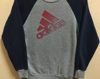 Vintage 90's Adidas Grey 3 Stripes Sport Classic Design Skate Sweat Shirt Sweater Varsity Jacket Size S #A738