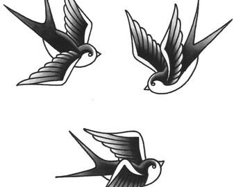 Swallow Temporary Tattoos