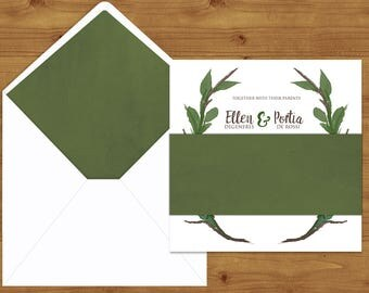 Leaf Green Watercolour Belly Bands and Envelope Liners - Foliage Wedding - Green Wedding - Wedding Invitation Extras - Wedding Stationery