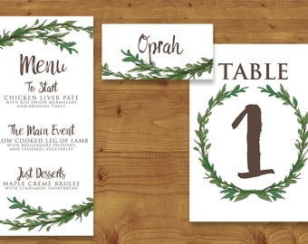 Leaf Green Painted Foliage Place Cards, Table Numbers, Menu Cards - Greenery Wedding - Foliage - Table Name - Name Card - Wedding Stationery