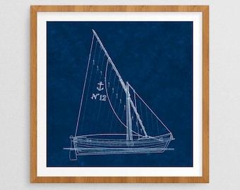 Natuical Blueprint I- Nautical Decor- Ship Gifts- Prints for Decor- Ocean Art- Seaside- Ships- Boats- Sailing