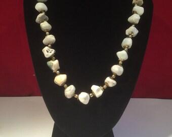 Vintage Natural White Polished Stone Necklace