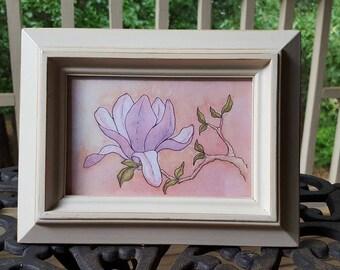 Magnolias Original Watercolor Gouache Ink Painting