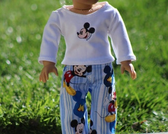 "Disney Inspired Mickey Mouse Pajamas, PJ's, Lounge Pants to Fit Like American Boy Doll Clothes or American Girl Doll Clothes, 18"" Boy Doll"
