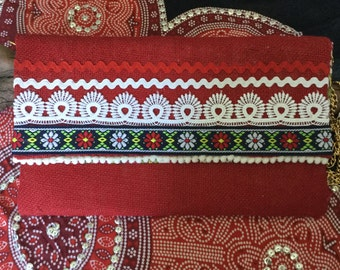 Red Hessian Embellished Clutch