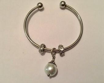 Pearl Charm Bangle Cuff Bracelet.