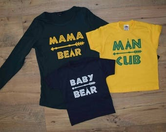 Mama bear and matching child or baby t-shirts baby bear or man cub