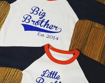 Personalised big brother little brother matching baseball long sleeved T-Shirt