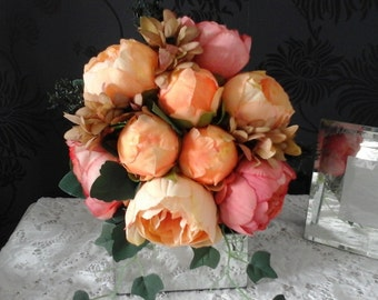 pink/peach peony wedding bouquet garden bouquet shabby chic bouquet pink/peonies peach peonies brides wedding bouquet