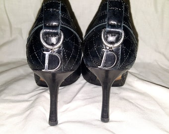 "Christian Dior, ""Dior"", Black, Cannage, Quilted, Leather, Peep Toe Pumps, Size 37"