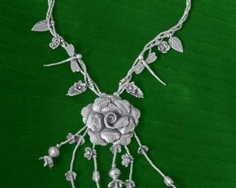Ethnic sterling silver necklace