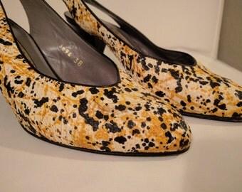 Retro Baldinini Snakeskin Kitten Heels, Size 7.5