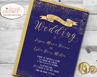 Gold and navy Wedding Invitation Set, Classic gold, Printable wedding invite, blue wedding,  elegant gold and navy