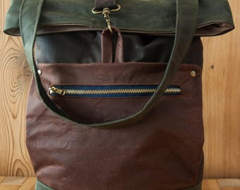 Traditional waxed canvas backpack