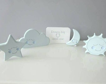 Baby boy nursery decor, baby boy room ideas, blue nursery, sleeping shapes, boys bedroom ideas, baby room decoration, sleep theme decor