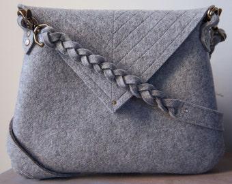 Heather Grey Felt Wool Handbag