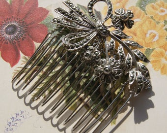 Vintage Marcasite Hair Comb, Silver Tone Floral Spray- Wedding, Bridal, Prom Hair Accessories