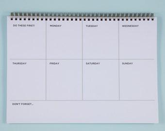 Weekly Desk Planner Notebook, Productivity Planner, Weekly Desk Pad, A4 Weekly Wirebound Notebook, Weekly Spiral Deskpad, Weekly Schedule