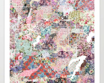 Arlington map TX | Arlington Painting | Arlington Art Print | Arlington Poster | Texas map  | Flowers compositions
