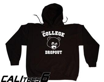 The College Dropout Hoodie Hooded Sweatshirt - Old School Hip Hop - KANYE WEST- White Print