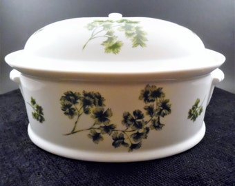 Andrea by Sadek 2 Quart Covered Casserole Dish  Parsley Pattern ~ Andrea Parsley Casserole Dish ~ 2 Quart Casserole Dish Oven to Table 8097