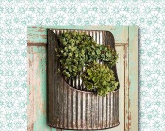 Corrugated Half-Round Wall Bin // Planter // Wall Hanging // Plant Holder // Garden // Gardening // Indoor // Outdoor