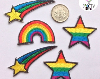 Shooting star clothing patch - Iron on rainbow shooting star UK