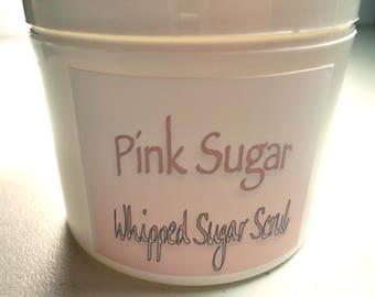 Pink Sugar Whipped Sugar Scrub, Mango and Shea Butter, Raspberry Seed Oil, Organic Extra Virgin Olive Oil, Organic Camellia Seed Oil