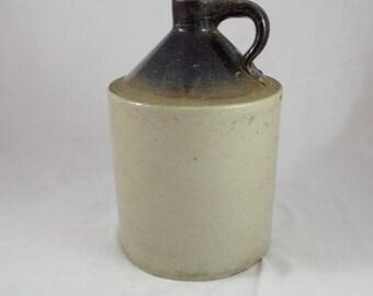 Antique Stoneware Jug Dark Brown Glaze and Salt Stain  Moon Shine Jug