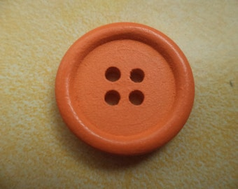 8 WOODEN BUTTONS orange 14 mm 20 mm (6744 6743) wood buttons
